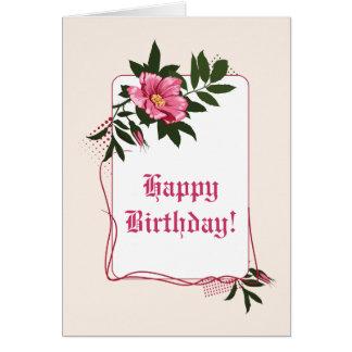 Pink wild rose, linen floral Happy Birthday Card