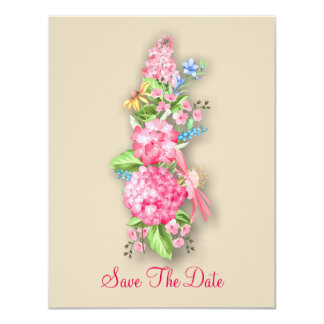 Pink Wildflower Bouquet Save The Date Card