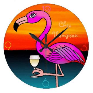 Pink Wine drinking Flamingo customized wall clock