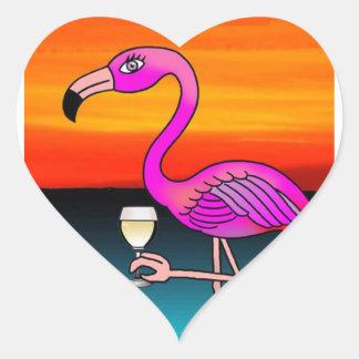 Pink Wine drinking Flamingo Heart Sticker