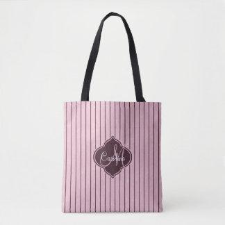 Pink Wine Stripe Monogram Tote Bag