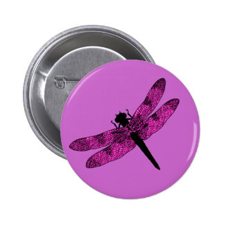 Pink Winged Dragonfly 6 Cm Round Badge