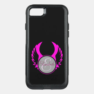 Pink Winged Monogram OtterBox Commuter iPhone 7 Case