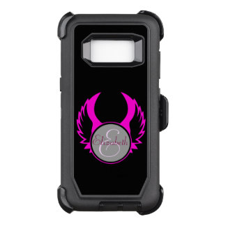 Pink Winged Monogram OtterBox Defender Samsung Galaxy S8 Case