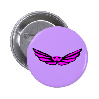 Pink Winged Skull Buttons