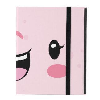Pink Winking Kawaii Face iPad Case