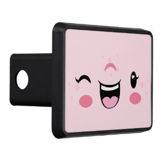 Pink Winking Kawaii Face Trailer Hitch Cover