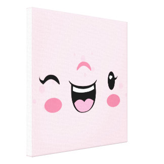 Pink Winking Kawaii Face Wrapped Canvas Canvas Print