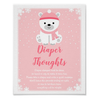 Pink Winter Bear Diaper Thoughts Game Poster