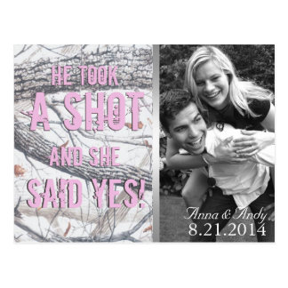 Pink Winter Camo Save The Date Wedding Postcard