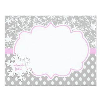 Pink WInter Onderland Wonderland Thank you Card