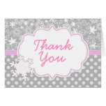 Pink Winter Thank you Card to invitation