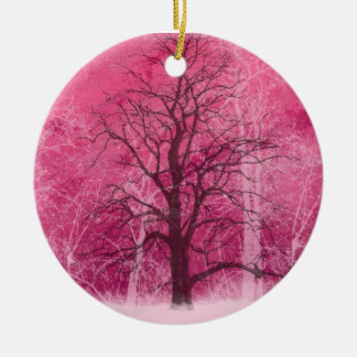 pink winter wonderland oranament ceramic ornament