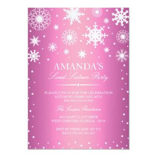 "Pink Winter Wonderland Sweet 16 Invitation 5"" X 7"" Invitation Card"