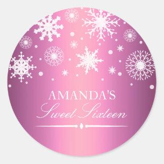 Pink Winter Wonderland Sweet 16 Sticker