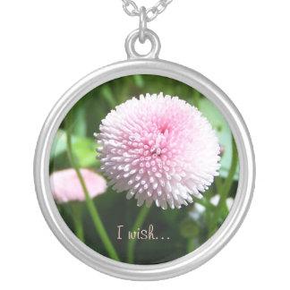 Pink Wish Flower Round Pendant Necklace