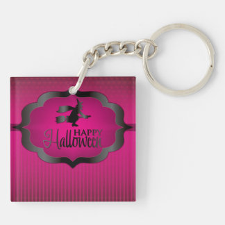 Pink witch Halloween shape Double-Sided Square Acrylic Key Ring