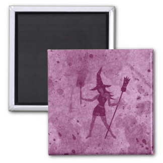 Pink Witch Square Magnet