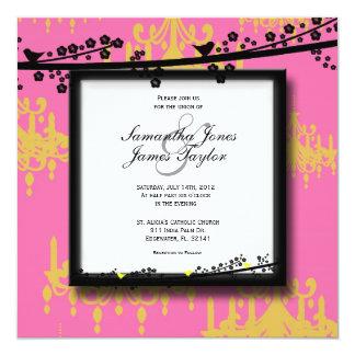 Pink with Birds Damask Elegant Vintage Weddin Invites