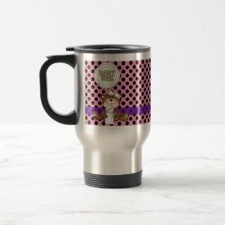 Pink with Black Polka Dots Girl Teddy Bear Mugs