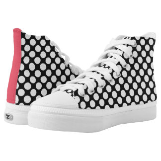 Pink with Black White Polka Dots Retro Printed Shoes