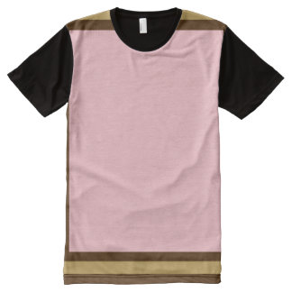 Pink with Brown and Mode Trim All-Over Print T-Shirt