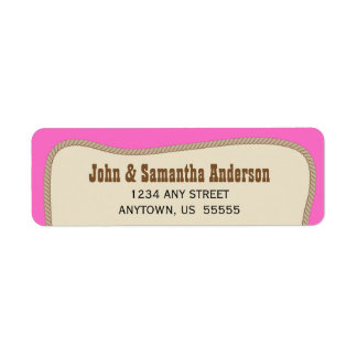 Pink with Brown Rope Western Cowgirl Return Address Label