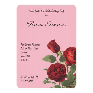 Pink With Cluster of Deep Red Roses Card