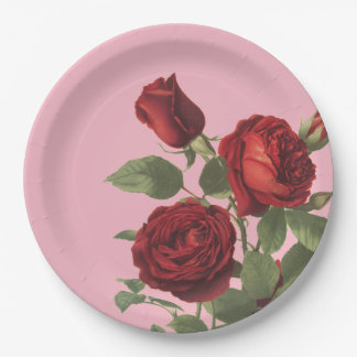 Pink With Cluster of Deep Red Roses Paper Plate
