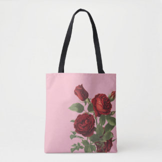 Pink With Cluster of Deep Red Roses Tote Bag
