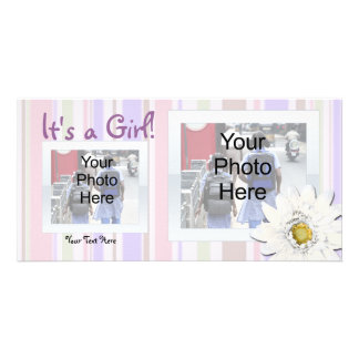 Pink with Daisy Custom Photo Birth Announcement Photo Card Template