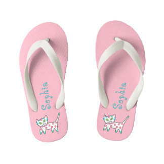 Pink With Doodle Kitty Cat And Name Kid's Thongs