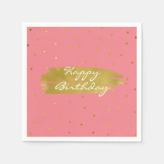 Pink With Gold Dots Birthday Napkins Disposable Napkin
