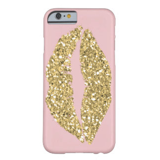 Pink with Gold Glam Lips Barely There iPhone 6 Case