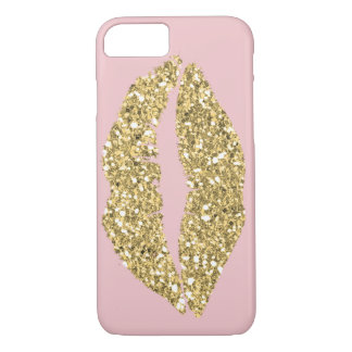 Pink with Gold Glam Lips iPhone 7 Case