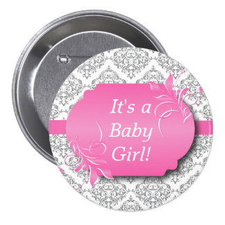 Pink with Gray Damask Pattern 7.5 Cm Round Badge