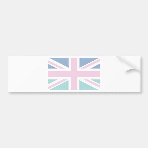 Pink with green & blue Union Jack British(UK) Flag Bumper Sticker