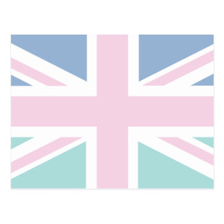 Pink with green & blue Union Jack British(UK) Flag Postcard