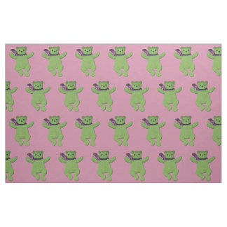 Pink with Green Teddy Bear fabric