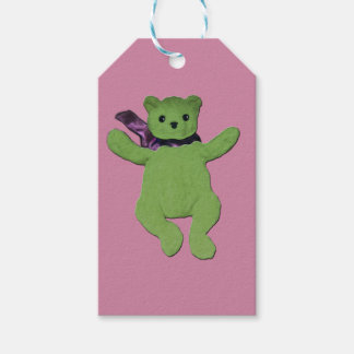 Pink with Green Teddy Bear gift tag