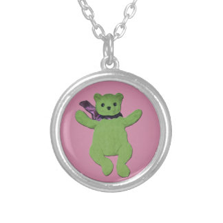 pink with Green Teddy Bear Round Pendant Necklace