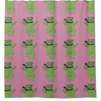 Pink with Green Teddy Bear shower curtain