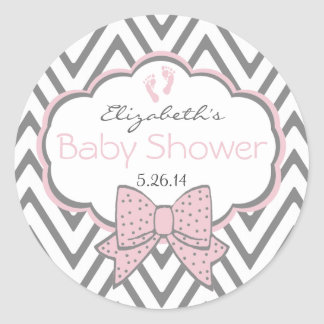 Pink With Grey Chevron Baby Shower Round Sticker