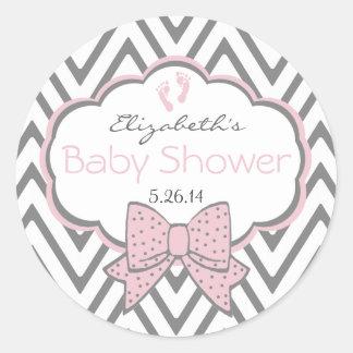 Pink With Grey Chevron Baby Shower Round Sticker