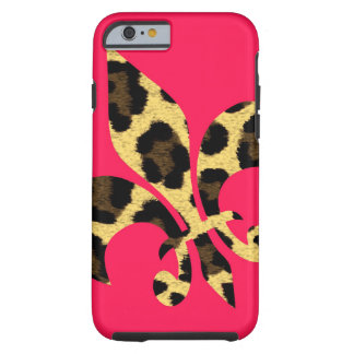 Pink with leopard Fleur de Lis Tough iPhone 6 Case