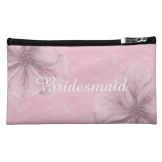 Pink with Light Flower Bridesmaid Cosmetic Bag