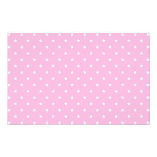 Pink with little white stars. 14 cm x 21.5 cm flyer