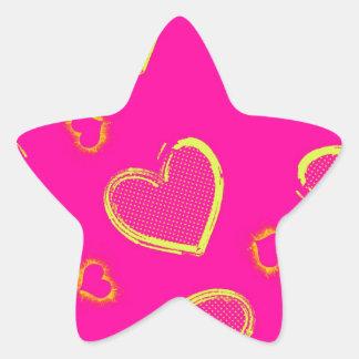 Pink with Neon Green Grunge Hearts Star Sticker