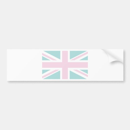 Pink with pale green Union Jack British(UK) Flag Bumper Sticker