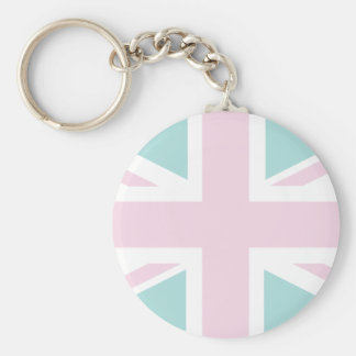 Pink with pale green Union Jack British UK Flag Keychains